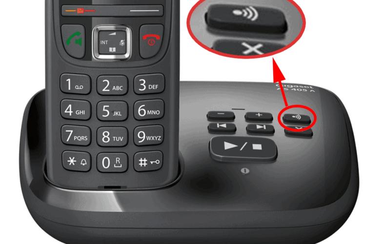 Find/Register Handset button on a Gigaset Telephone