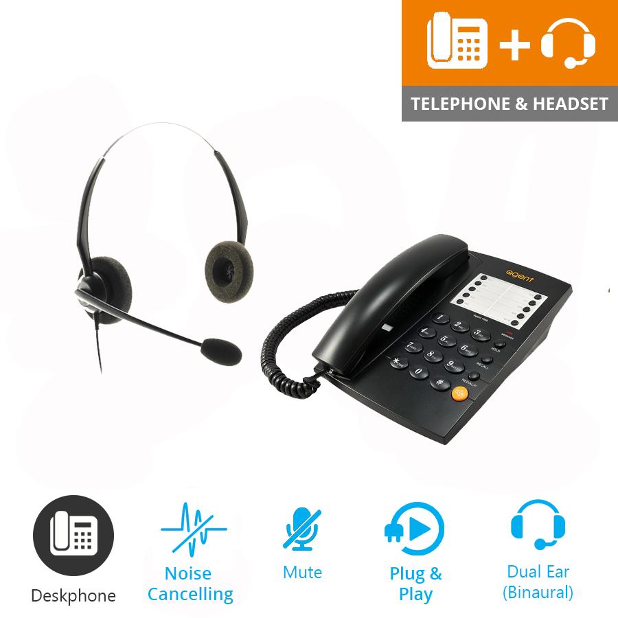 301b8fcb4de ... Agent 1000 Corded Telephone - Black and JPL 100 Binaural Noise  Cancelling Office Headset (JPL100B) Bundle2 ...