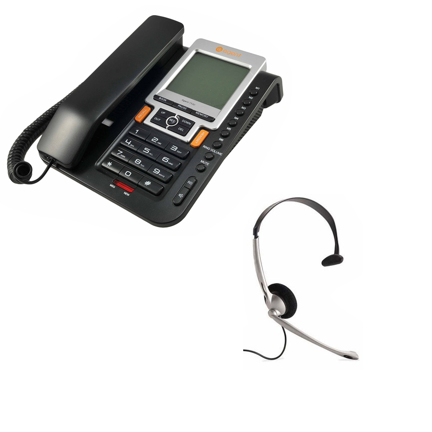Black Noise Cancelling Office Headset JPL 501S Monaural Agent 1000 Corded Telephone