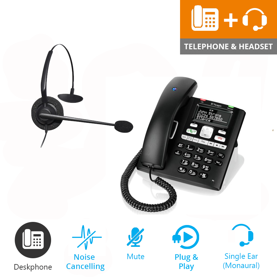 BT Paragon 650 - Corded Telephone / Answering Machine and JPL 100 Monaural Noise Cancelling Office Headset (JPL100M Bundle2