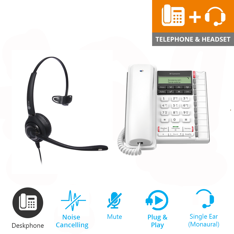 BT Converse 2300 Corded Telephone - White and JPL 501 Monaural Noise Cancelling Office Headset (JPL 501-P) Bundle