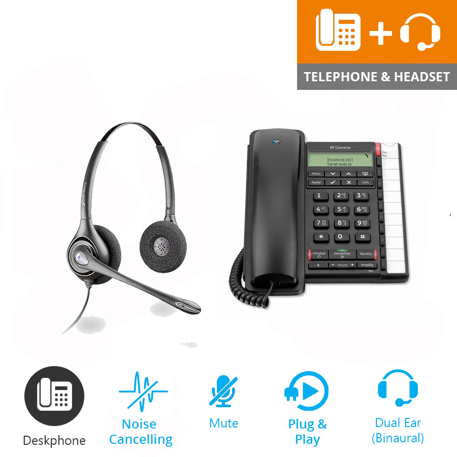 nverse 2300 Corded Telephone - Black and Plantronics HW261N Supraplus Wideband Binaural - Noise Cancelling Office Headset - A Grade Bundle1