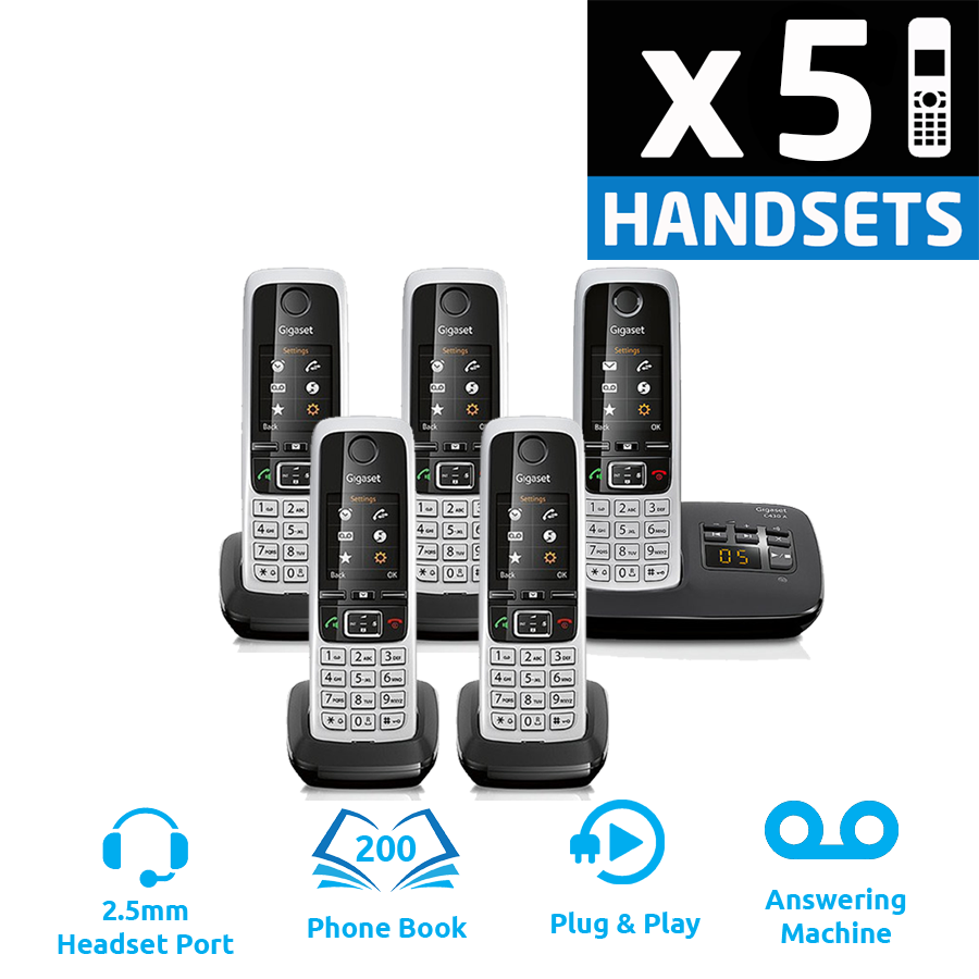 Gigaset C430A DECT Cordless Phone With Answering Machine - Quint Pack
