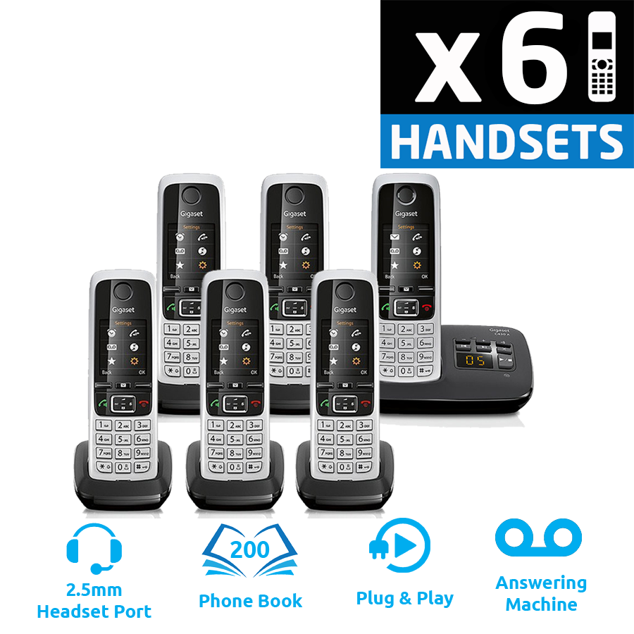 Gigaset C430A DECT Cordless Phone With Answering Machine - Sextet Pack