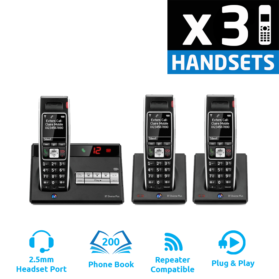 BT Diverse 7450 Plus DECT Cordless Phone - Triple Pack