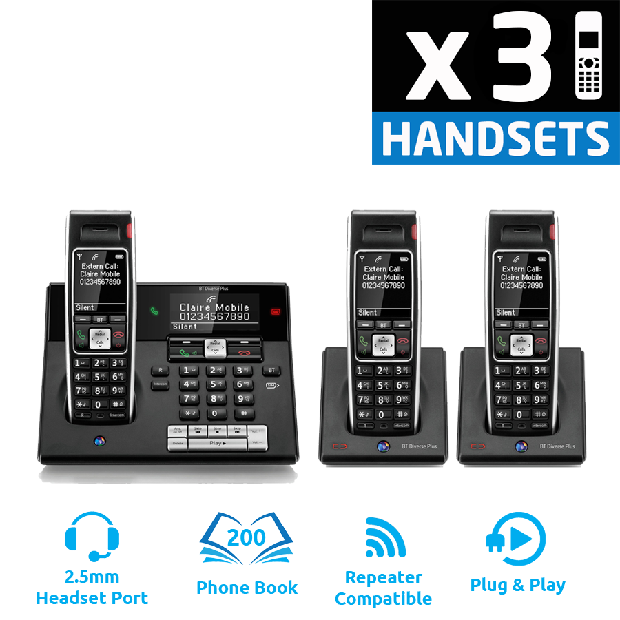 BT Diverse 7460 Plus DECT Cordless Phone - Triple Pack
