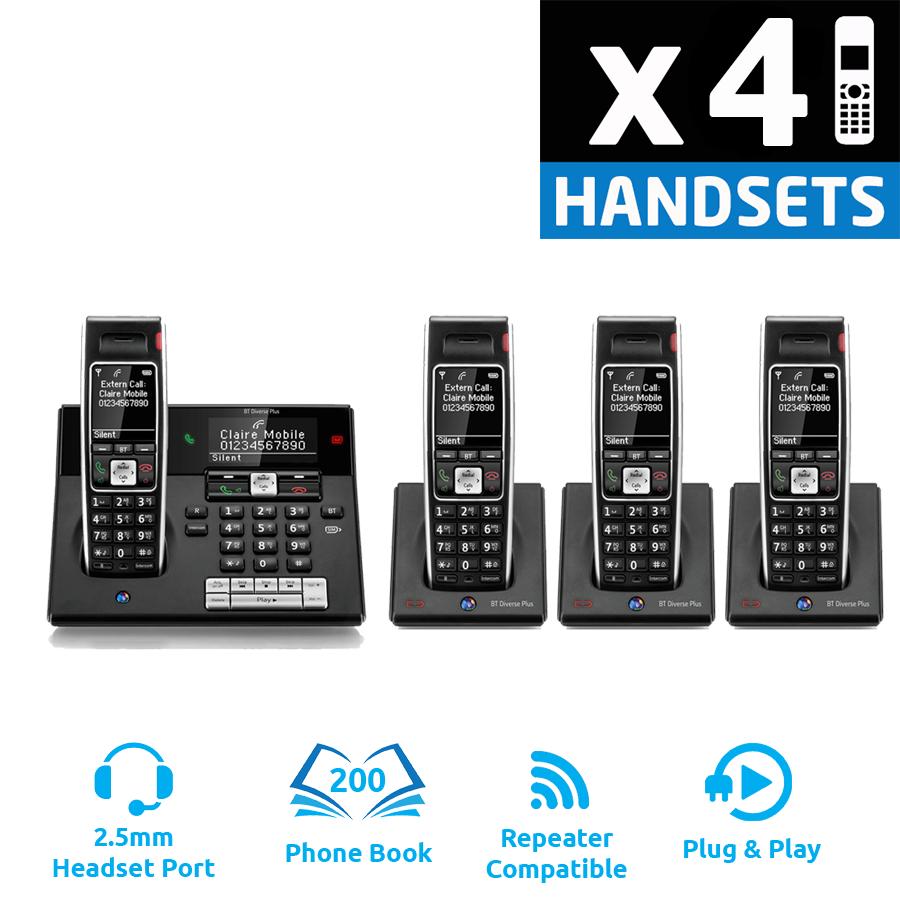BT Diverse 7460 Plus DECT Cordless Phone - Quad Pack