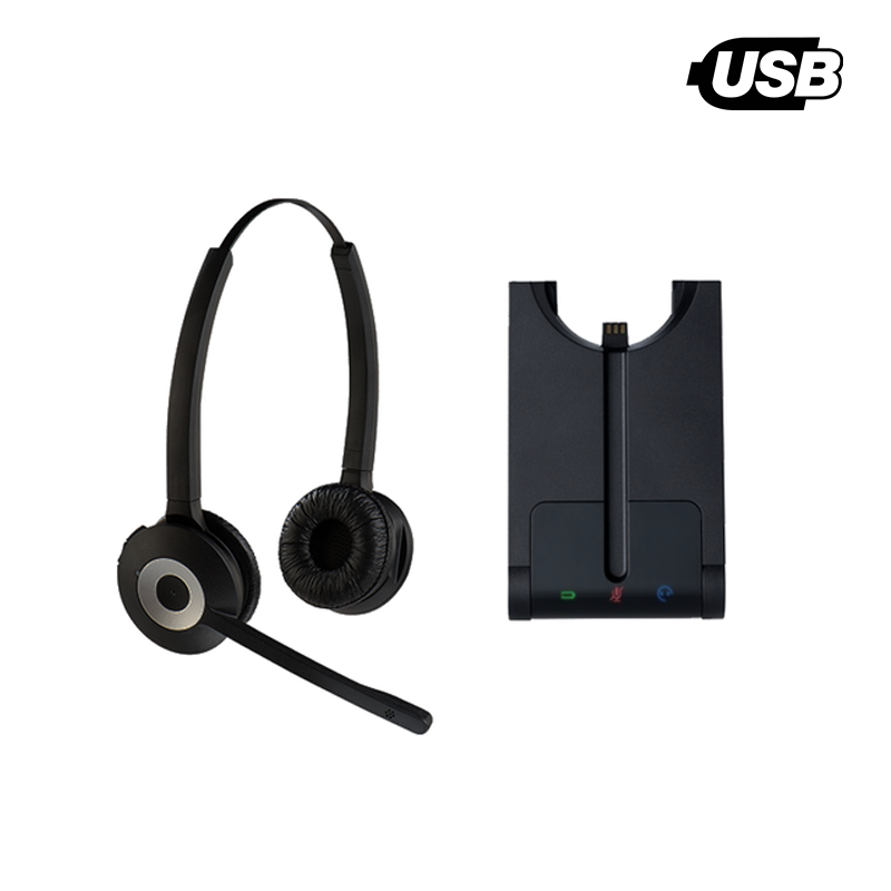 Unily Binaural Business DECT Wireless USB Noise Cancelling Headset