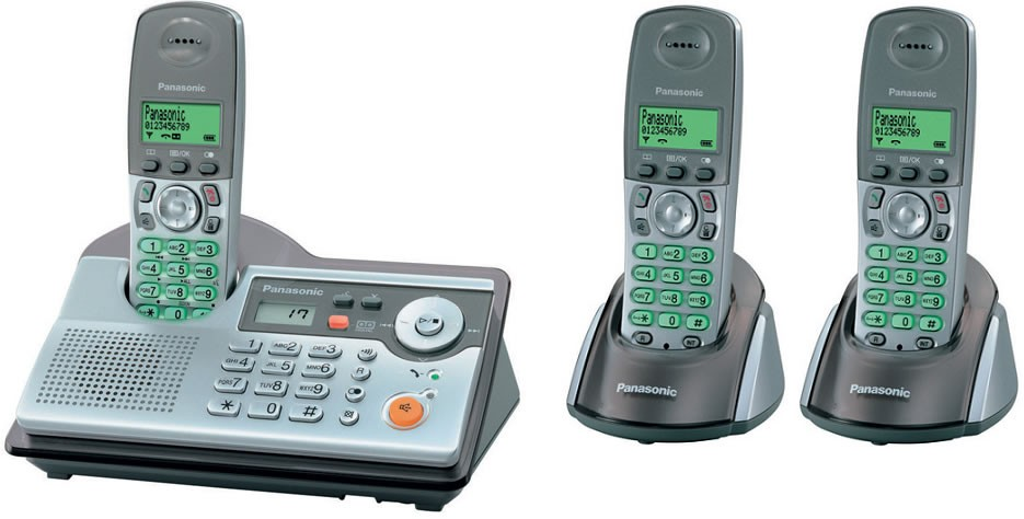 Panasonic KX-TCD240 Triple DECT Cordless Phone with Answering Machine