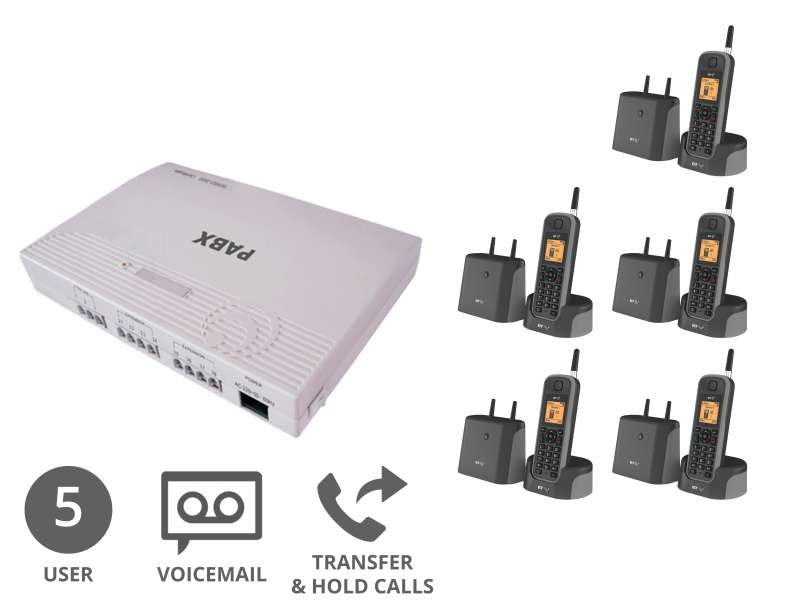 Cordless Business Phone System & Voicemail Bundle for 5 Users