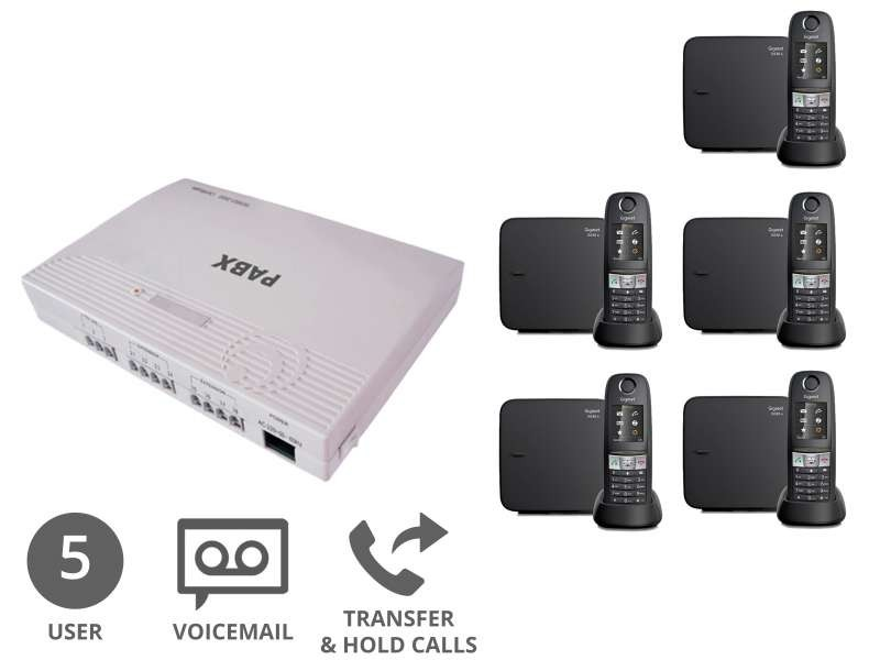 Robust Cordless Business Phone System & Voicemail Bundle for 5 Users