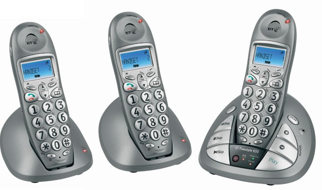 BT Freestyle 650 DECT Triple Pack with Answering Machine
