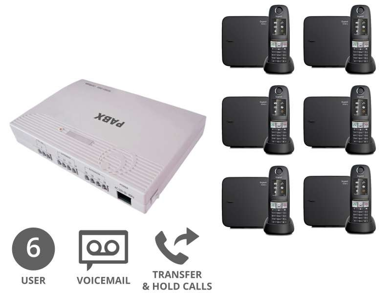 Robust Cordless Business Phone System & Voicemail Bundle for 6 Users