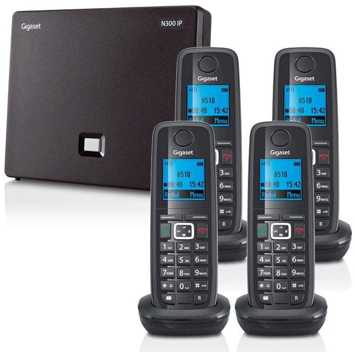 Siemens Gigaset N300IP DECT VoIP Base And A510H Additional Handset - Quad Pack