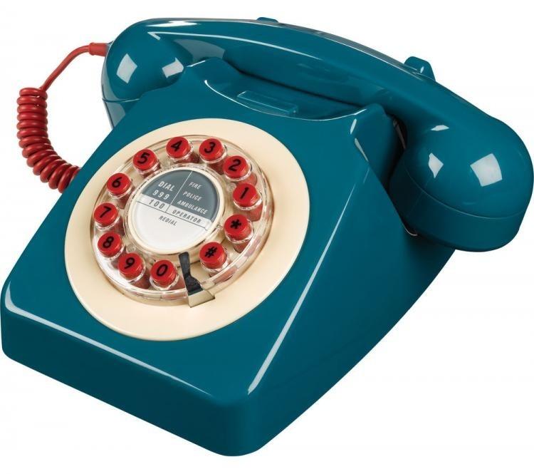 Wild & Wolf 746 Retro 1960's Telephone - Petrol Blue