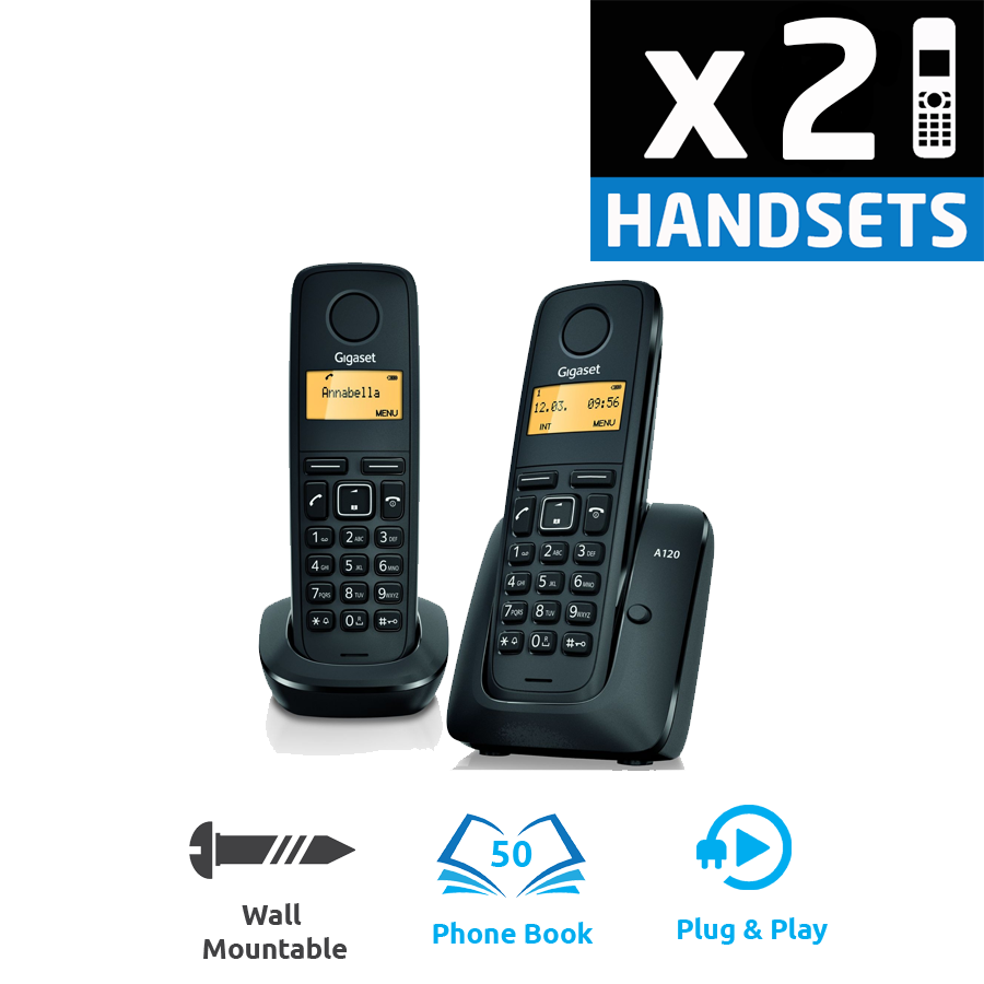 Gigaset A120 DECT Cordless Phone - Twin Pack