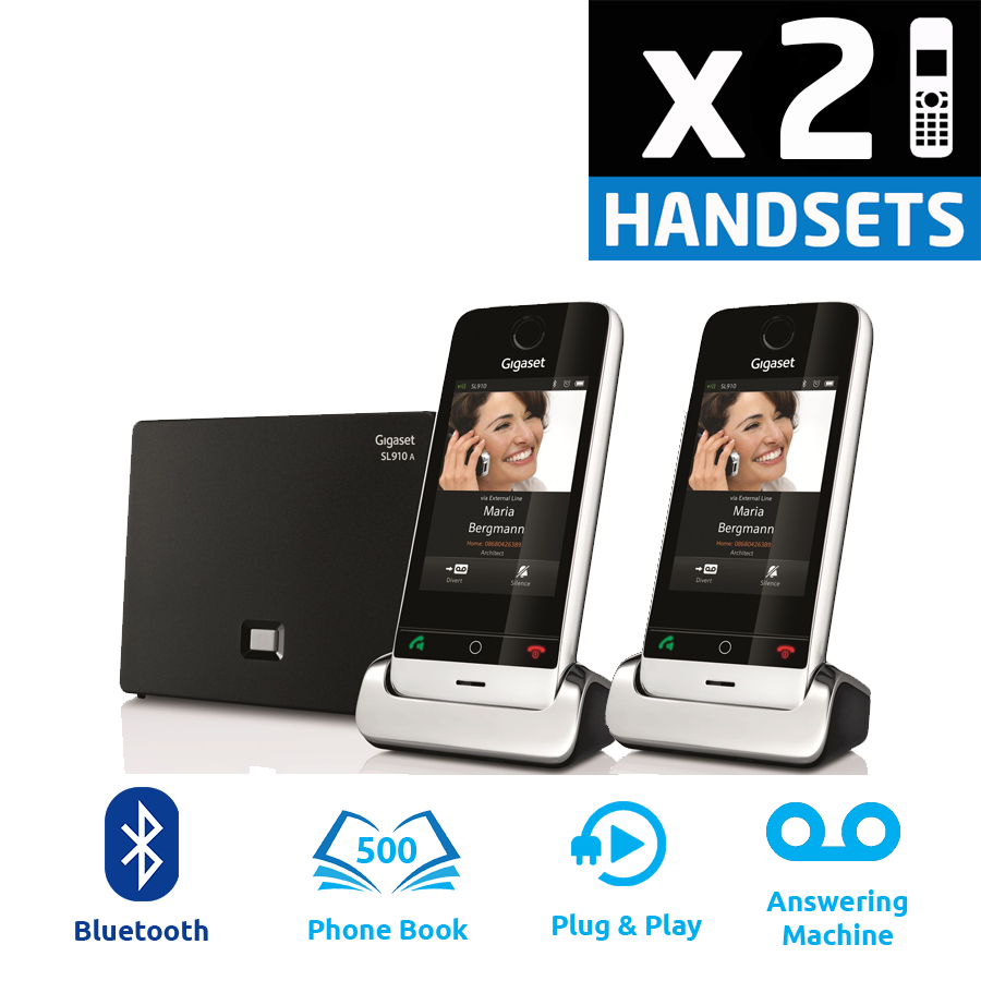 Gigaset SL910A DECT Cordless Phone With Answering Machine - Twin Pack