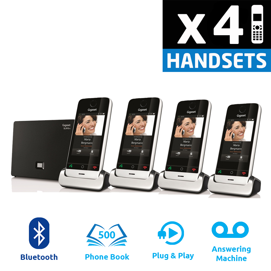 Gigaset SL910A DECT Cordless Phone With Answering Machine - Quad Pack