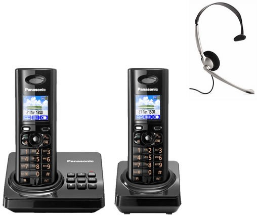 Panasonic KX-TG8222EB Twin - Digital Cordless Phone with Answering Machine & FREE NRX Headset