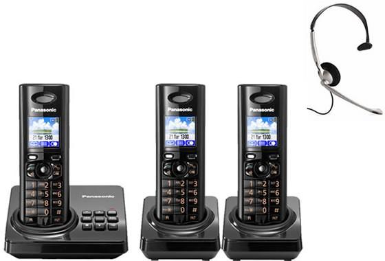 Panasonic KX-TG8223EB Triple - Digital Cordless Phone with Answering Machine & FREE NRX Headset