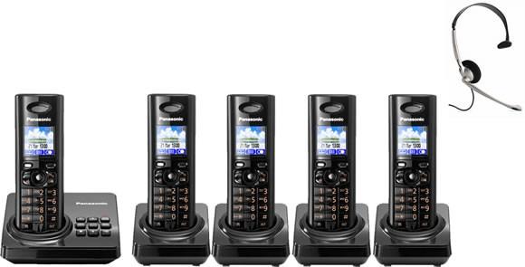 Panasonic KX-TG8225EB Quint - Digital Cordless Phone with Answering Machine & FREE NRX Headset
