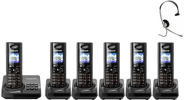 Panasonic KX-TG8226EB Six Pack - Digital Cordless Phone with Answering Machine & FREE NRX Headset