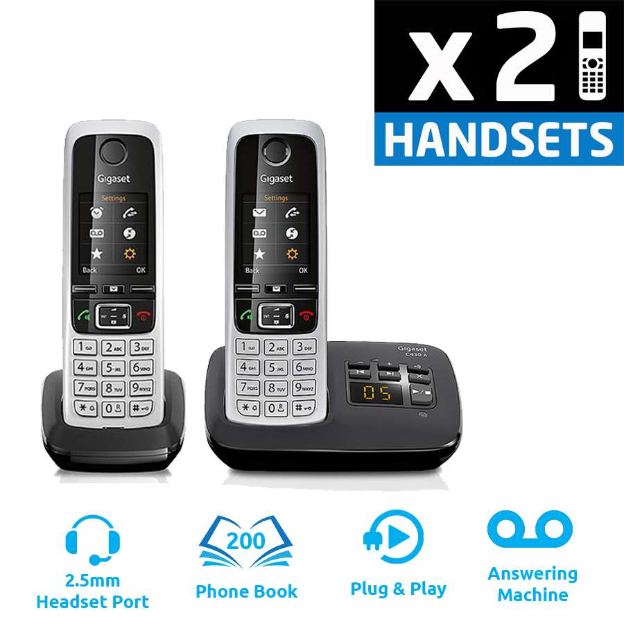 Gigaset C430A DECT Cordless Phone With Answering Machine - Twin Pack