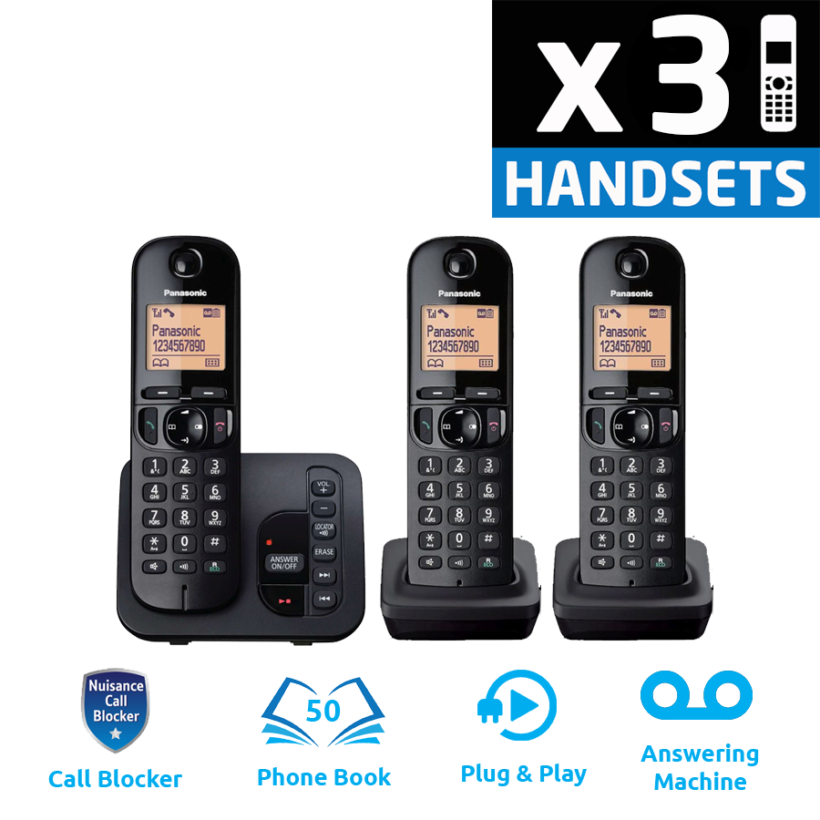 Panasonic KX-TGC223EB DECT Cordless Phone With Answering Machine - Triple
