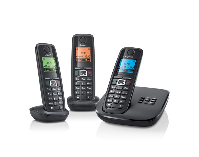 Gigaset A510A DECT Cordless Phone With Answering Machine - Triple Pack