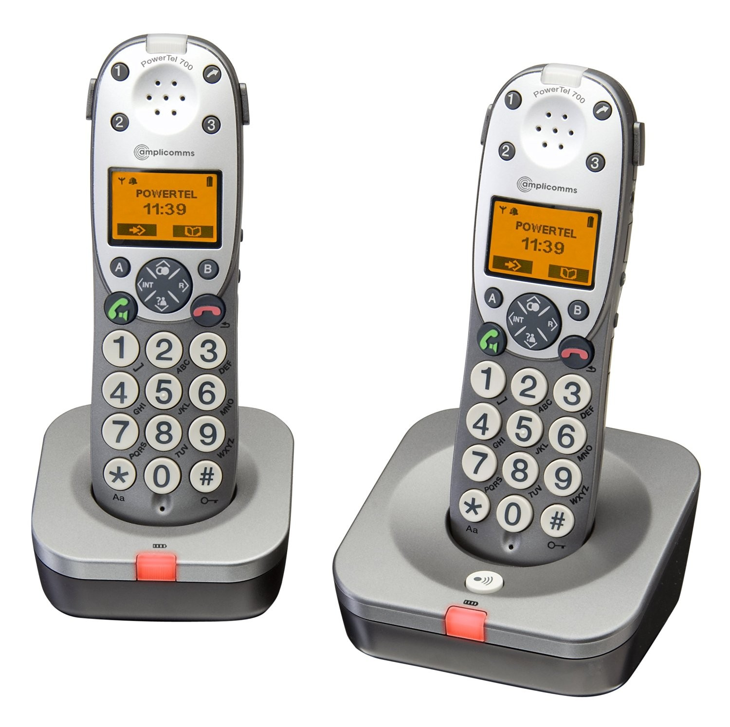 Amplicomms Powertel 702 Amplified Twin DECT Cordless Telephone - Twin Pack
