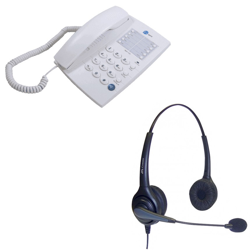 Agent 1000 Corded Telephone - White and JPL 502 Binaural Noise Cancelling Office Headset (JPL-502-P) Bundle