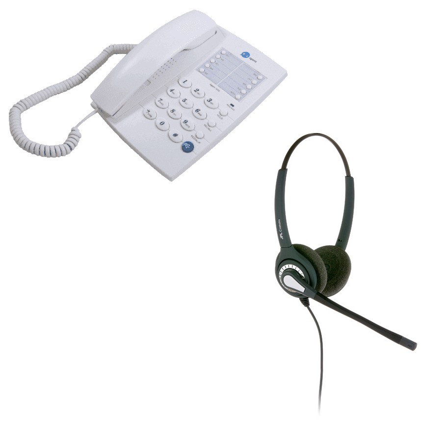 Agent 1000 Corded Telephone - White and JPL 402 Binaural Noise Cancelling Office Headset (JPL 402-P) Bundle