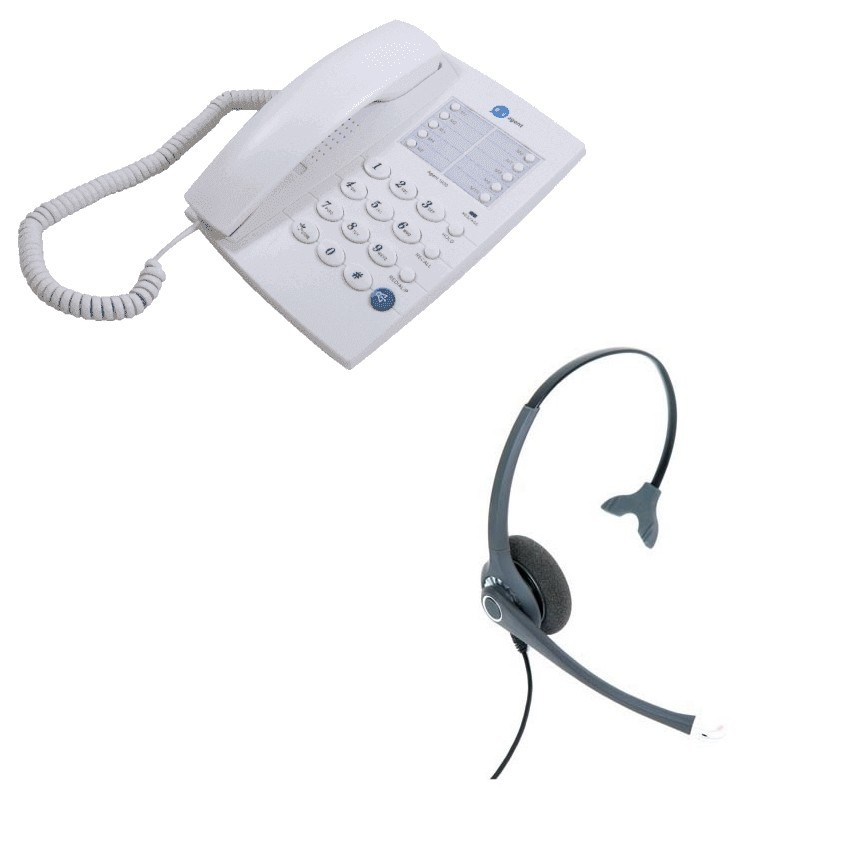 Agent 1000 Corded Telephone - White + Project 102 Monaural Noise Cancelling Headset