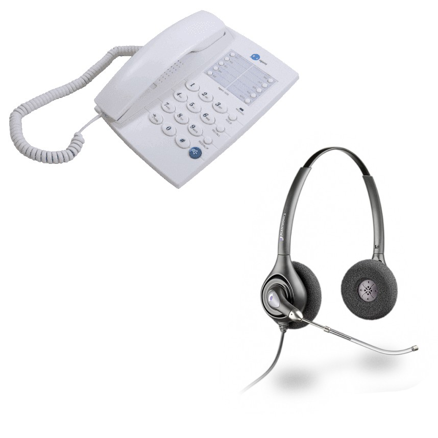 Agent 1000 Corded Telephone - White and Plantronics HW261 Supraplus Wideband Binaural Office Headset - A Grade (36830-41) Bundle