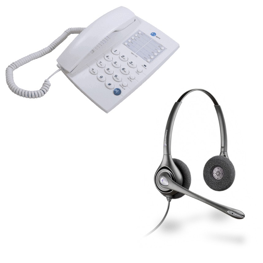 Agent 1000 Corded Telephone - White and Plantronics HW261N Supraplus Wideband Binaural - Noise Cancelling Office Headset - A Grade (36834-41) Bundle