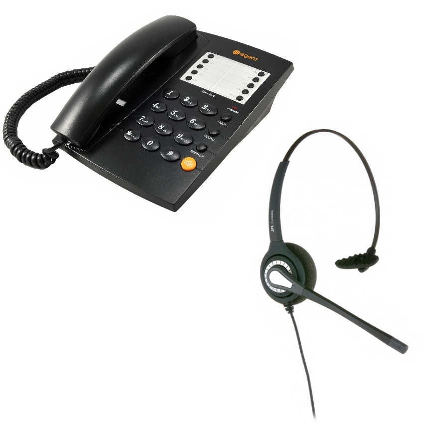 Agent 1000 Corded Telephone - Black and JPL 401 Monaural Noise Cancelling Office Headset (JPL 401-P) Bundle
