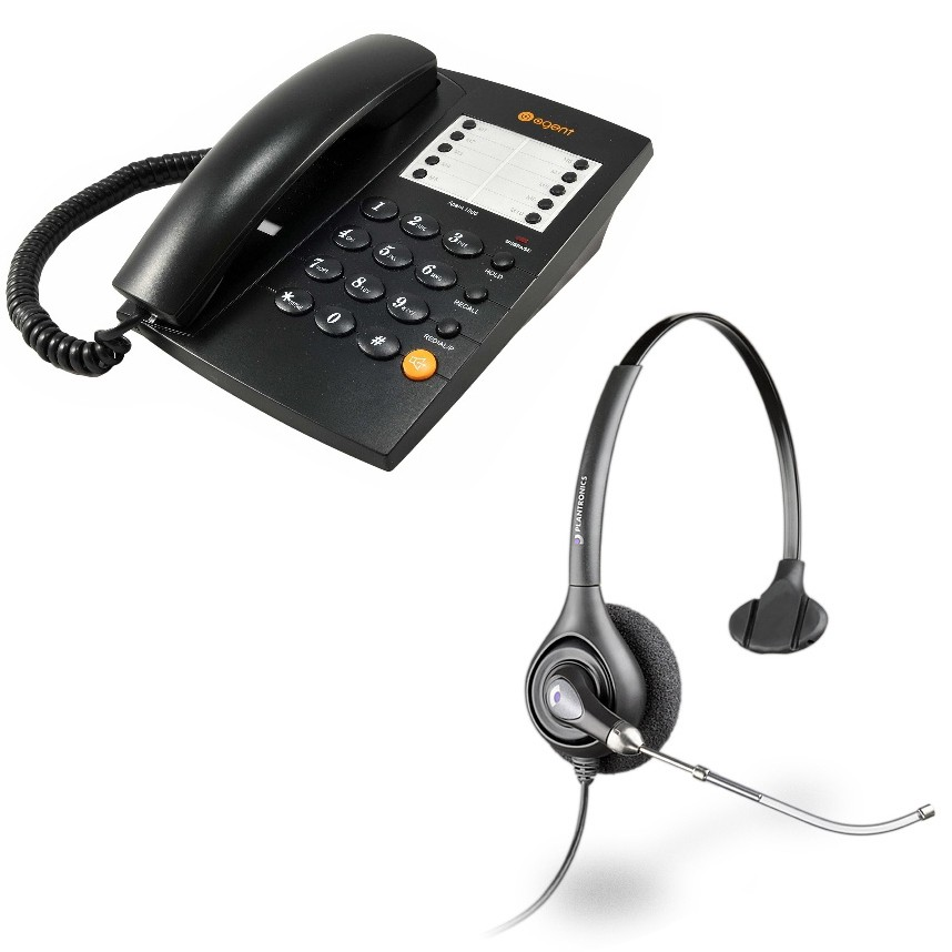 Agent 1000 Corded Telephone - Black and Plantronics HW251 Supraplus Wideband Monaural Office Headset - A Grade (36828-41) Bundle