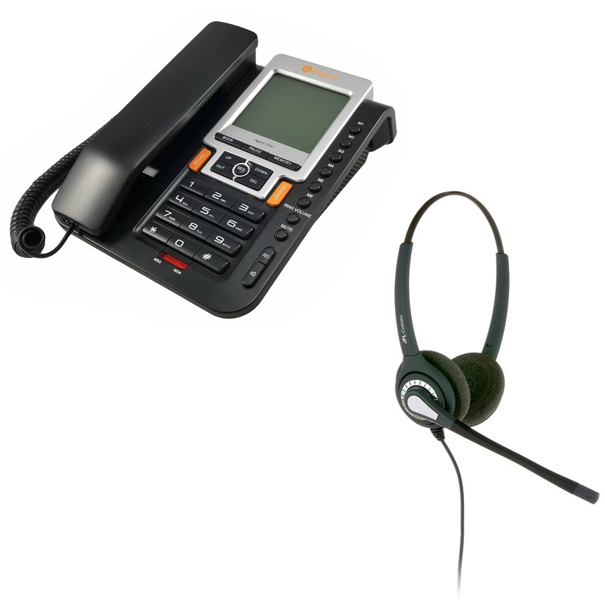 Agent 1100 Corded Telephone-Black and JPL 402 Binaural Noise Cancelling Office Headset (JPL 402-P Bundle