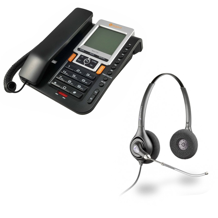 Agent 1100 Corded Telephone and Plantronics HW261 Supraplus Wideband Binaural Office Headset - A Grade (36830-41) Bundle