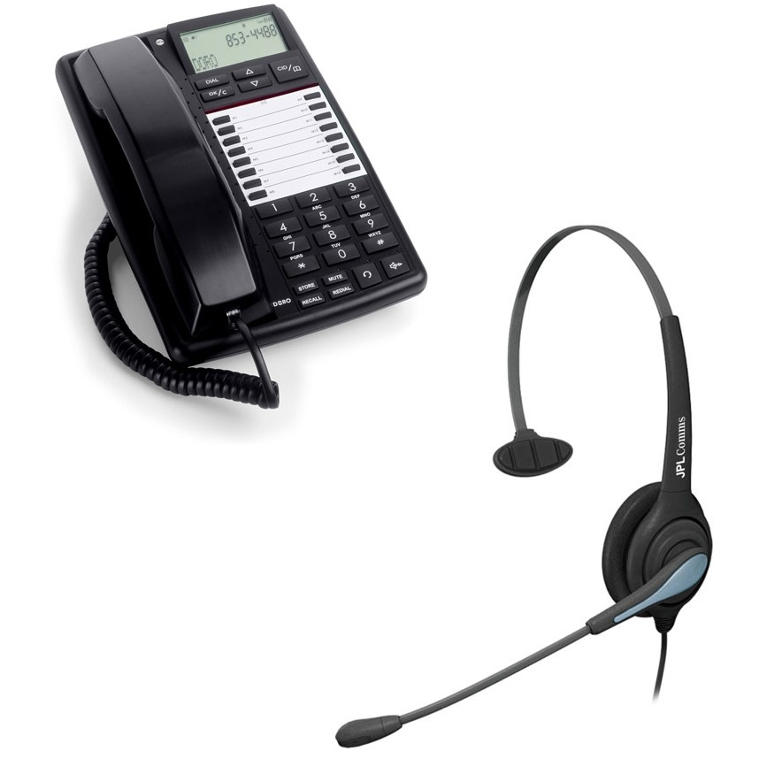 Doro aub 300i telephone jpl 501 headset bundle from pmc telecom - Phone headsets for office ...