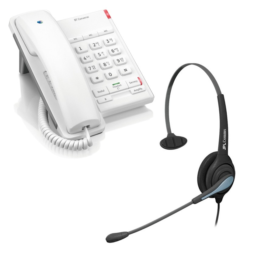 BT Converse 2100 Corded Telephone - White and JPL 501 Monaural Noise Cancelling Office Headset (JPL 501-P) Bundle