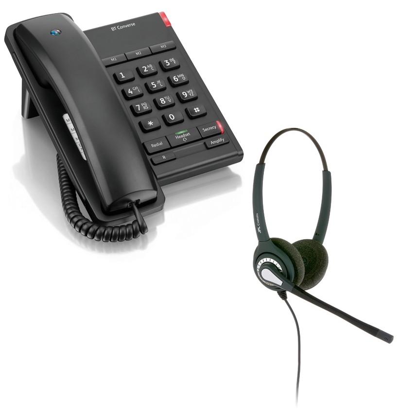 BT Converse 2100 Corded Telephone - Black and JPL 402 Binaural Noise Cancelling Office Headset (JPL 402-P) Bundle
