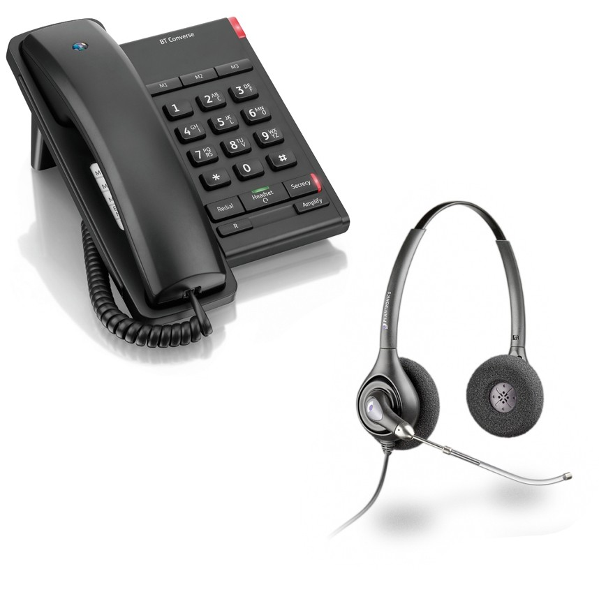 BT Converse 2100 Corded Telephone - Black and Plantronics HW261 Supraplus Wideband Binaural Office Headset - A Grade (36830-41) Bundle
