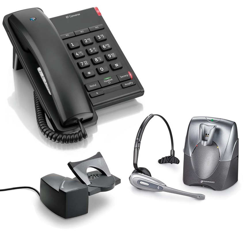 BT Converse 2100 Corded Telephone - Black and Plantronics CS60 DECT Wireless Headset A-Grade (36995-01) and Plantronics HL10 Lifter (36390-14) Bundle