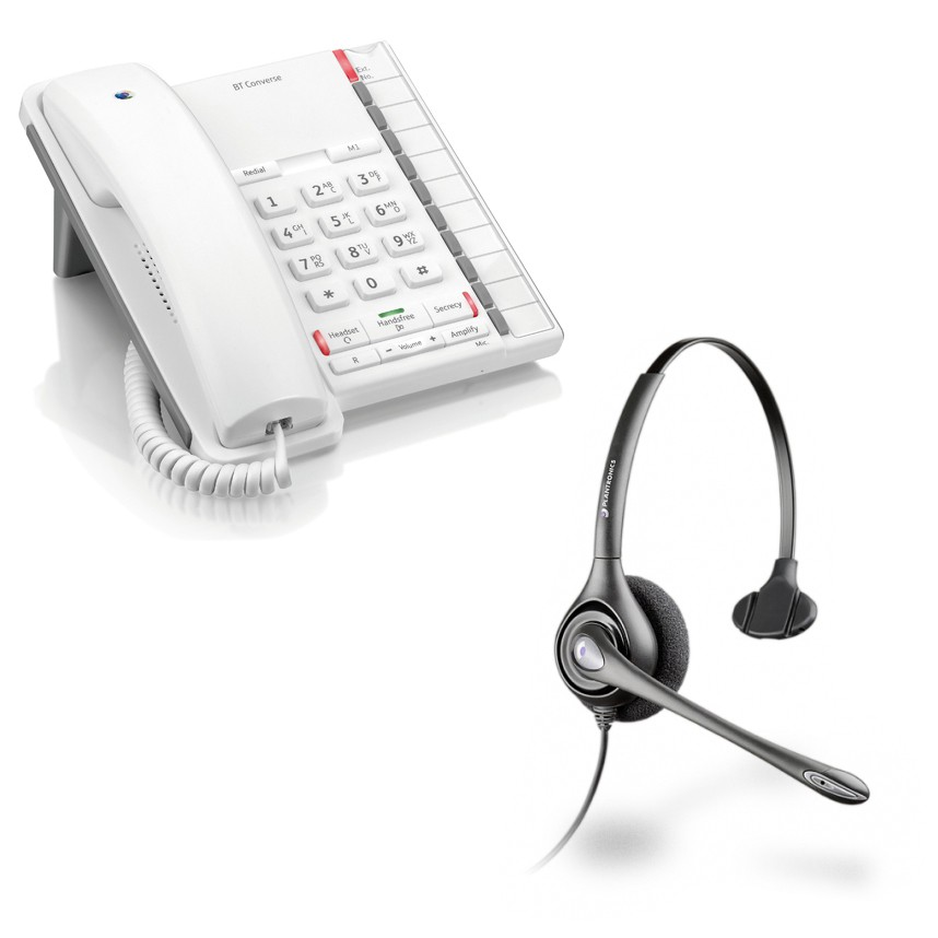 BT Converse 2200 Corded Telephone - White and Plantronics HW251N Supraplus Monaural Noise Cancelling Office Headset - A GRADE (36832-41) Bundle
