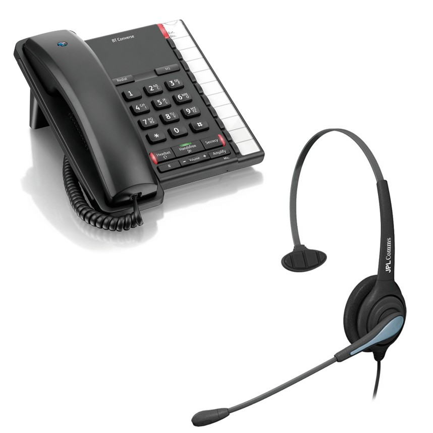 T Converse 2200 Corded Telephone - Black and JPL 501 Monaural Noise Cancelling Office Headset (JPL 501-P) Bundle