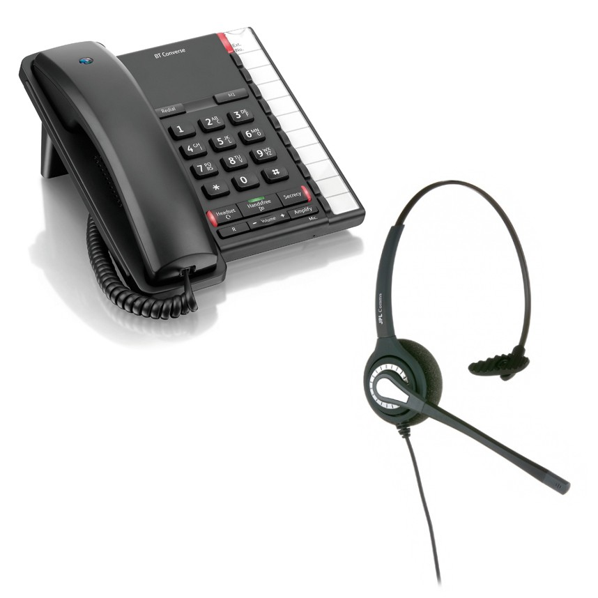 BT Converse 2200 Corded Telephone - Black and JPL 401 Monaural Noise Cancelling Office Headset (JPL 401-P) Bundle
