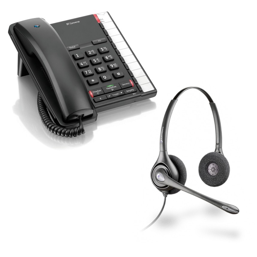 BT Converse 2200 Corded Telephone - Black and  Plantronics HW261N Supraplus Wideband Binaural - Noise Cancelling Office Headset - A Grade (36834-41) Bundle