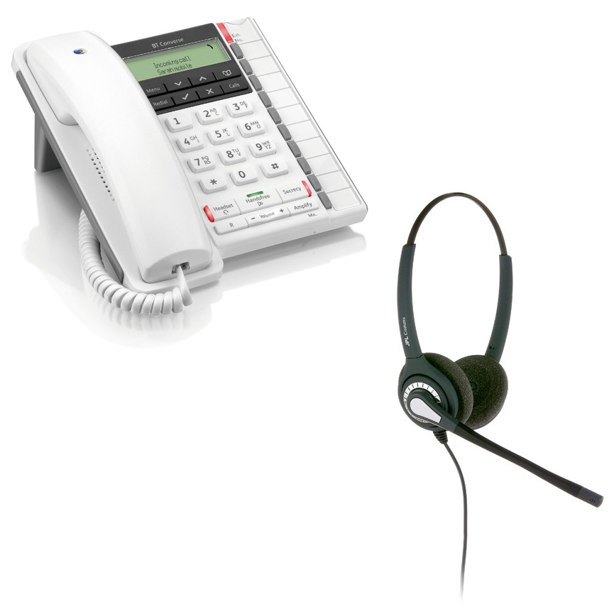 BT Converse 2300 Corded Telephone - White and JPL 402 Binaural Noise Cancelling Office Headset (JPL 402-P) Bundle