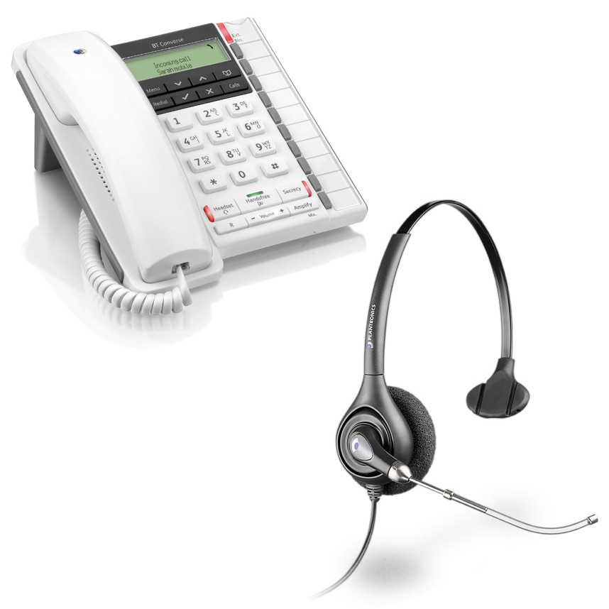 BT Converse 2300 Corded Telephone - White and Plantronics HW251 Supraplus Wideband Monaural Office Headset - A Grade (36828-41) Bundle